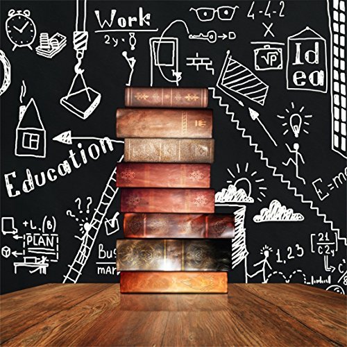 (CSFOTO 8x8ft Background for Stack of Old Books Chalkboard Photography Backdrop Education is Road to Success Achieve Ideal Steps Stair Hand Draw Student Child Photo Studio Props Vinyl)