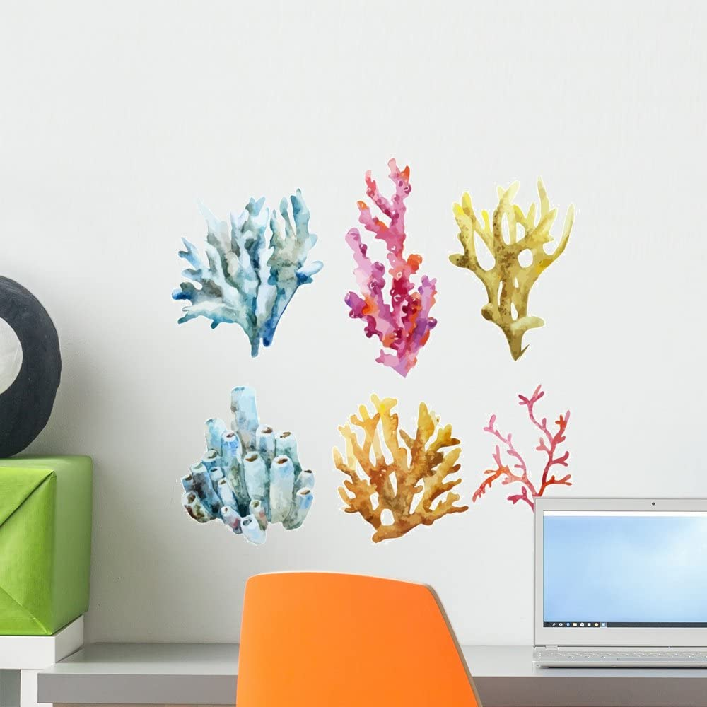 Wallmonkeys Corals with Shells and Wall Decal Sticker Set Individual Peel and Stick Graphics on a (18 in H x 18 in W) Sticker Sheet WM369281