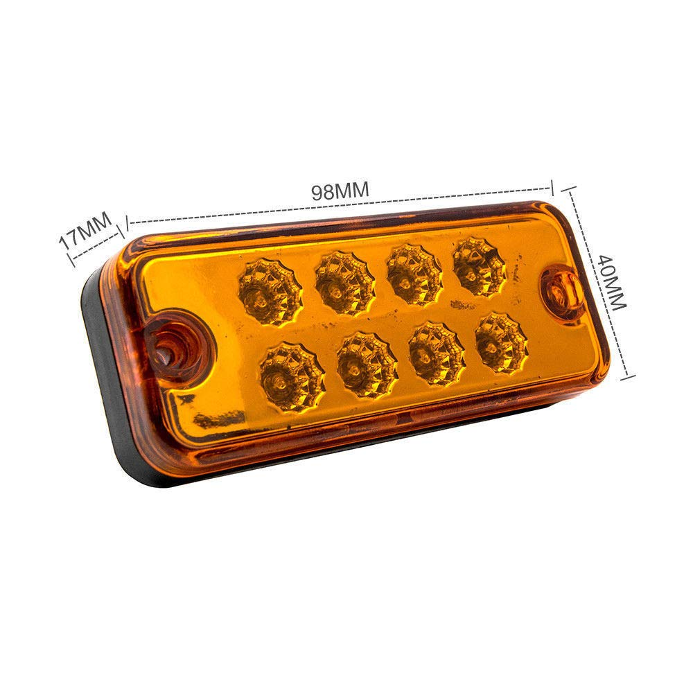 MASO 4/pcs Marqueur de c/ôt/é Lampes 12/V//24/V Universel Indicateur de Position Lampes LED Avant Feux arri/ère avec Orange Ambre Ampoules pour Camion remorque Van Caravan Camion de Voiture Bus