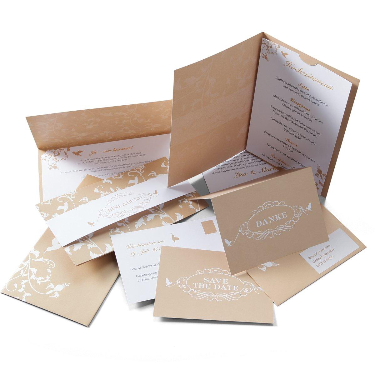 Einladungskarten Set U0027Kolibriu0027 Zur Hochzeit   Für 15 Sendungen/30 Gäste    Inkl. Einladungen, Save The Date, Danksagungen, Menükarten: Amazon.de:  Bürobedarf ...