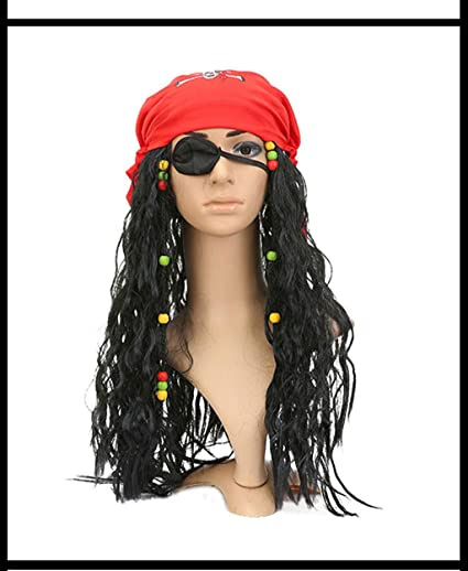 Peluca, peluca pirata - torero, España, talla única - peluca negra ...