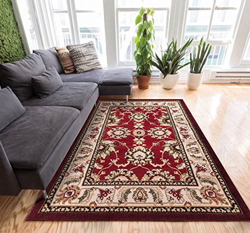 Persian Kashan Value Red Floral Persian Area Rug 5x7 (5' x 7'2'') Black Living Dining Room Area Rug 5x7 (5' x 7'2'') Thick Soft Pile