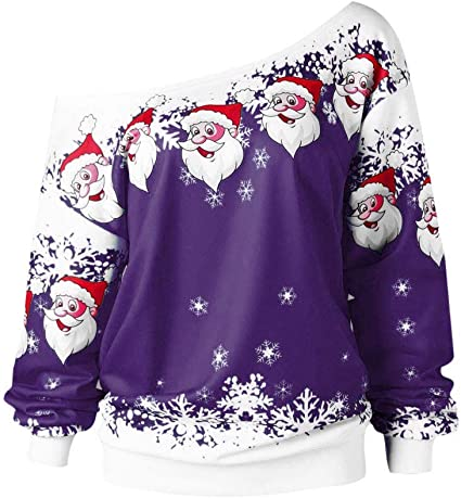 Merc With A Mouth Ugly Christmas Slouchy Off Shoulder Oversized Sweatshirt