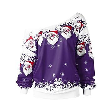 Camisas de Mujer,Dragon868 Moda Mujer Adolescentes Navidad Papá Noel Impreso Skew Collar Blusa(
