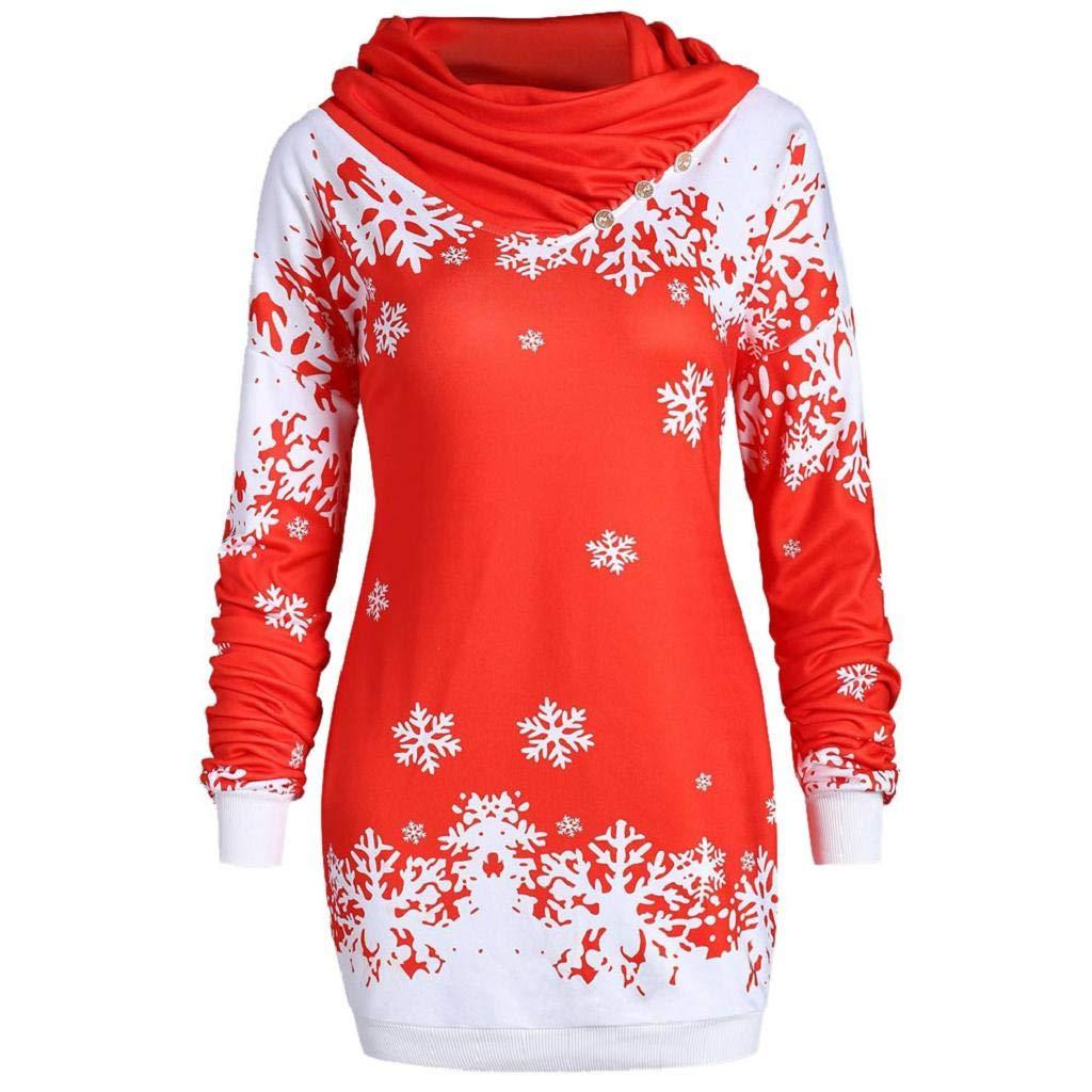 Fr/öhliche Weihnachten Damen Geschenke Mode Schal Kragen Schneeflocke gedruckt Cowl Neck Button T-Shirt Sweatshirt Lange Tops VJGOAL Damen Bluse