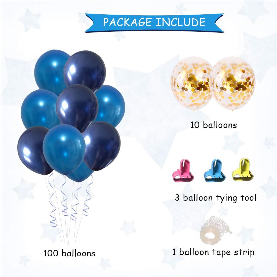 festa di compleanno 110 pezzi di palloncini in lattice blu set con palloncino legando strumento e striscia di nastro per baby shower