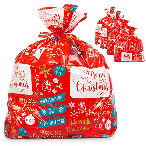 """Large Christmas Gift Bags Set – 4 Pack for Giant Xmas Presents – 36""""x44"""" Jumbo Size Sacks - Easy Holiday Wrapping Heavy Duty Pack with Tags & String Ties"""