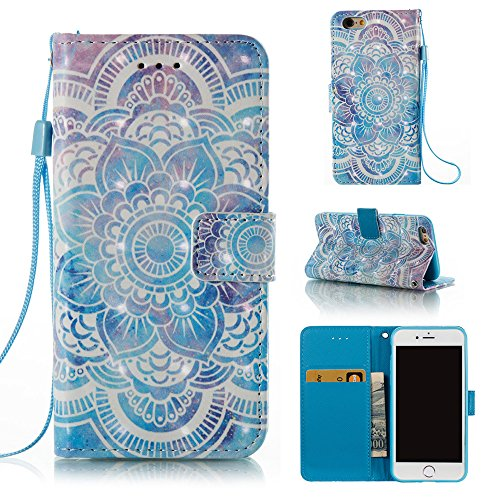 Voanice Wallet Case PU Leather Credit Card Holder Slots Kickstand Flip Folio Phone Cases Cover Protective Shockproof Wrist Strap Magnetic Apple iPhone 6S / iPhone 6 &Stylus-Blue Floral Flower