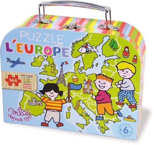 Vilac - 2605 - Puzzle 144 Pièces Carte d'Europe en Valise