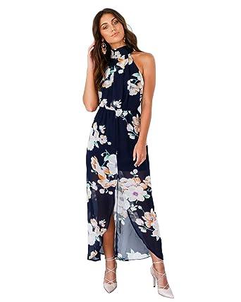 a74dc022c53 VertHome Women s Sexy Halterneck Backless Long Dress Split Floral Maxi  Dress Chiffon Beach Dress at Amazon Women s Clothing store