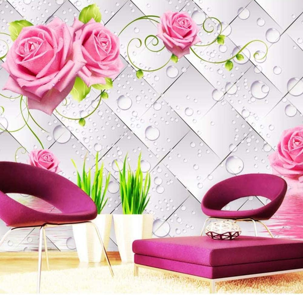 Amazon Com Xbwy Fashionable Interior Design 3d Stereo Water Drop Flowers Mural Wallpaper Living Room Tv Sofa Backdrop Wall Romantic Wallpaper 3d 120x100cm Furniture Decor