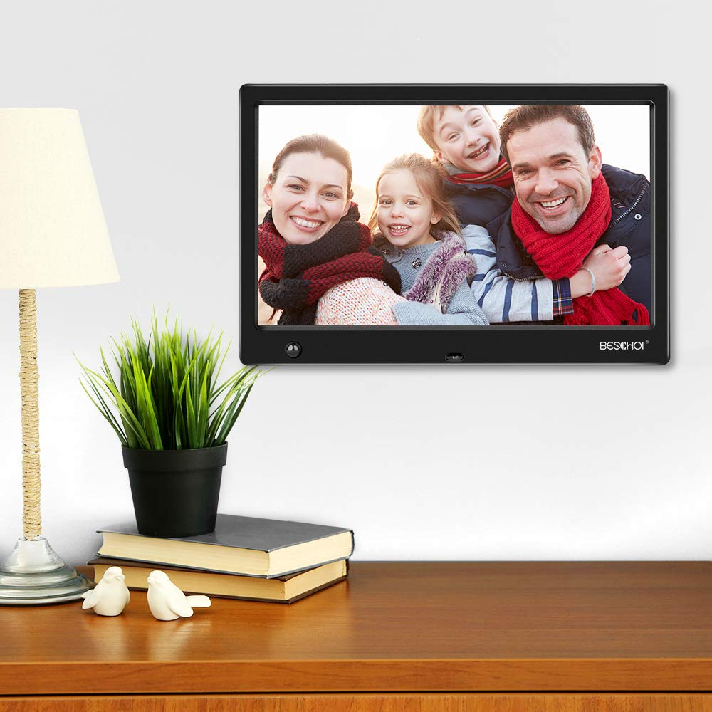 Beschoi 10 inch Digital Photo Frame HD LED Picture Videos Frame with Motion Sensor, MP3/Calendar/Clock by Beschoi (Image #2)