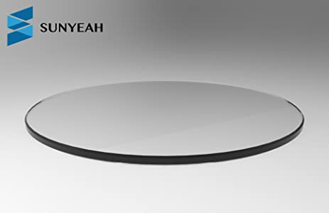 SUNYEAH 1/4u0026quot; Thick, Round Tempered Clear Glass Table Top, Flat Polished