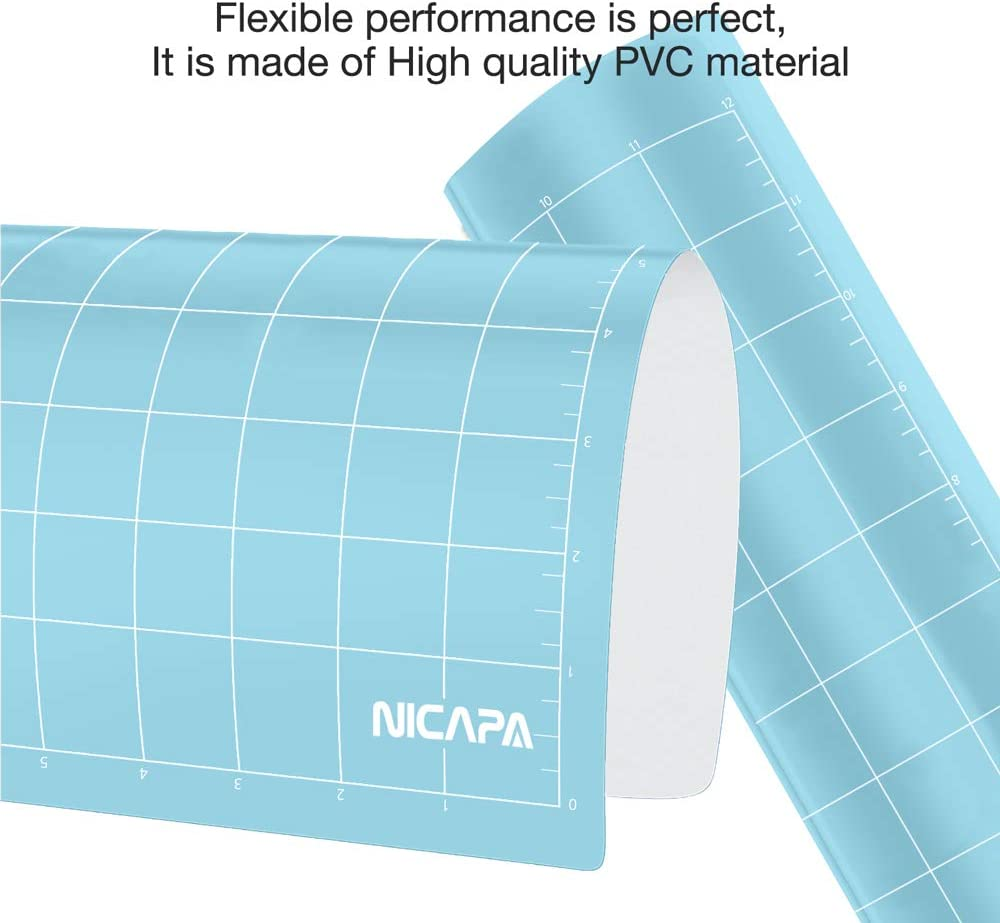 Light-Grip,12x12 inch 3pack Adhesive/&Sticky Non-Slip Flexible Square Gridded Blue Cut Mats Replacement Accessories Set Matts Vinyl Craft Sewing Cloth Nicapa Cutting Mat for Silhouette Cameo 3//2//1