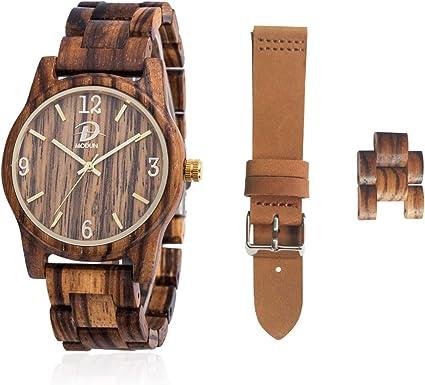 Relojes de Madera, Set de Regalo de para Hombres y Mujeres, Caja de Reloj de Madera
