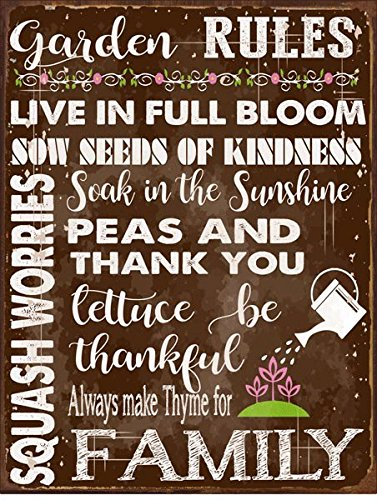- Sun Protected Garden Rules Metal Sign, Spring, Country Home, Rustic Décor