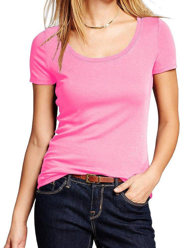 FDPlus Short Sleeve Basic Solid Scoop Neck Tee Shirt Top Plus Sizes
