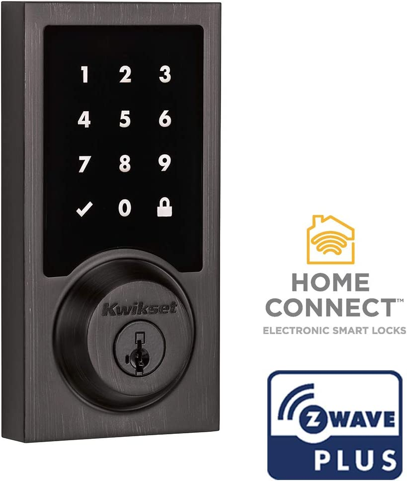 Kwikset 99160-017 SmartCode 916 Modern Contemporary Touchscreen Smart Lock Deadbolt featuring SmartKey Security and Z-Wave Plus, Venetian Bronze