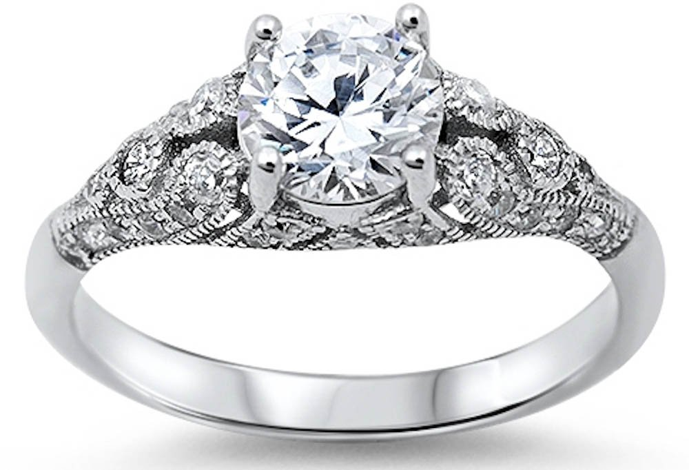 Sterling Silver Women's Vintage Antique Style Round Cubic Zirconia Engagement Ring Sizes 8