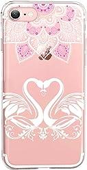 Girlscases®   iPhone 8/7 Hülle   Im Herz Schwan Liebe Motiv Muster   in rosa pink   Fashion Case transparente Schutzhülle aus Silikon