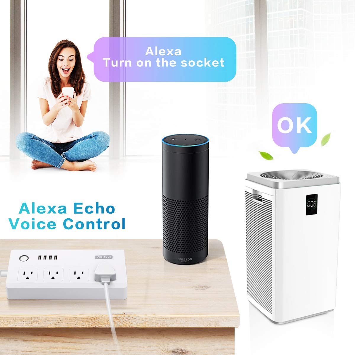 WiFi Power Strip Work with Alexa Smart Power Board AILINK Timer Schedule, Surge Protector with 4 Outlets and 4 USB Ports White by AILINK (Image #3)
