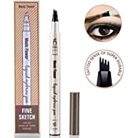 Eyebrow Tattoo Pen Microblading Eyebrow Pencil Tattoo Brow Ink Pen with a Micro-Fork Tip Applicator Creates Natural Looking Brows Effortlessly and Stays on All Day (Chestnut)