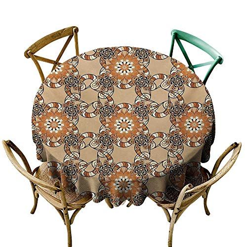firee Flow Spillproof Fabric Tablecloth Tan and Brown Henna Art Style Mandala Flowers with Wavy and Striped Petals Mosaic Tile for Kitchen Dinning Tabletop Decoration ()