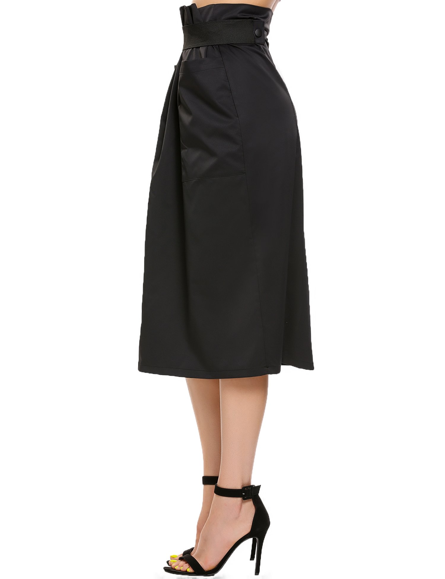 Women Casual High Waisted African A Line Maxi Long Skirt Black Small by Zeagoo (Image #6)
