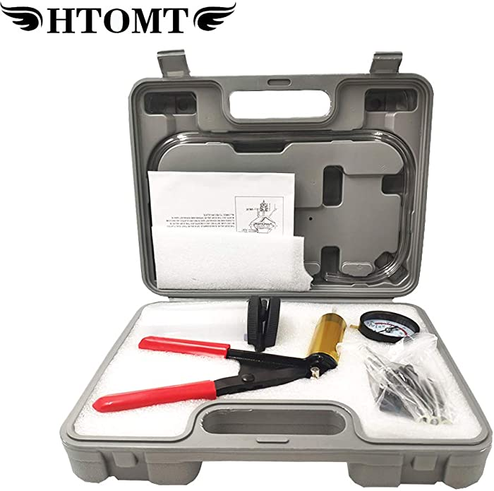 HTOMT 2 in 1 Brake Bleeder Kit Hand held Vacuum Pump Test Set for Automotive with Sponge Protected Case,Adapters,One-Man Brake and Clutch Bleeding System (Gray)