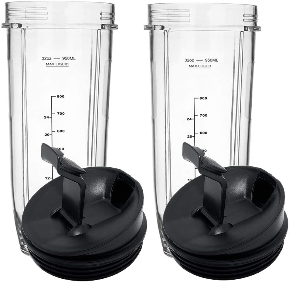 Blender Replacement Cups for Nutri Ninja Auto-iQ 900W/1000W Series modes and Duo Blenders Blade(2, 32 Ounce Cup)