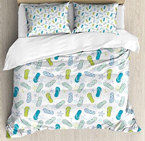 Lunarable Nautical Duvet Cover Set, Flip Flops Beach Swimming Summer Season Inspiration Starfish, Decorative 3 Piece Bedding Set with 2 Pillow Shams, Queen Size, Green Yellow