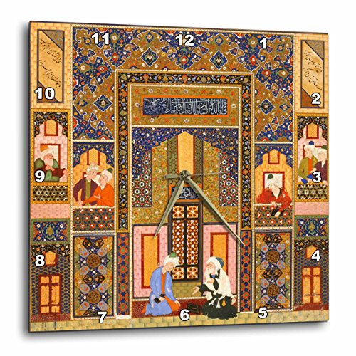 3dRose dpp_162527_3 The Meeting of The Theologians Islamic Persian Art 1540-1550 Ad by Abd Allah Musawwir Arabian Wall Clock, 15 by 15'' by 3dRose