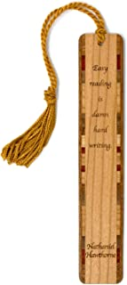 product image for Nathaniel Hawthorne Reading & Writing Quote - Engraved Wooden Bookmark with Tassel