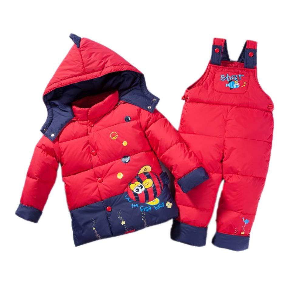 Unisex Infant Toddler Baby Boys Girls Winter Warm Cartoon Down Coat Cock Puffer Jacket Hoodie Snowsuit Thick Snow Bib Pants 2 Pieces Skiing Set Outwear, (1-3 Years)