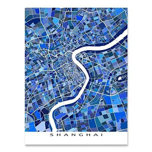 (Shanghai China Map Art Print, Asia, City Wall Art, Blue)