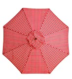 7′ Aluminum Umbrella With Crank Arm, in Red Gingham For Sale