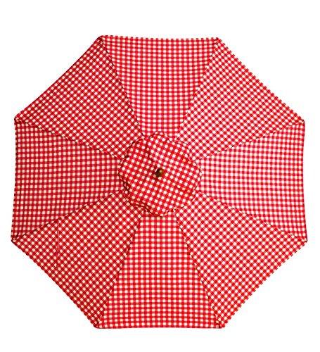 7' Aluminum Umbrella With Crank Arm, in Red Gingham