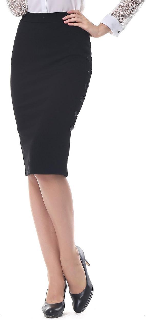 KENANCY - Falda - Ajustado - para Mujer Negro XXXX-Large: Amazon ...