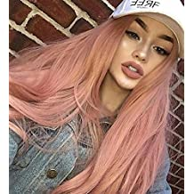 Zenith Classic Pink Lace Front Wigs for Party Fashion Cute Baby Pink Long Wavy Hair Synthetic Beautiful Wig for Women Mixed Color Pastel Pink Wig Light Purple & Orange Fiber 24 inches