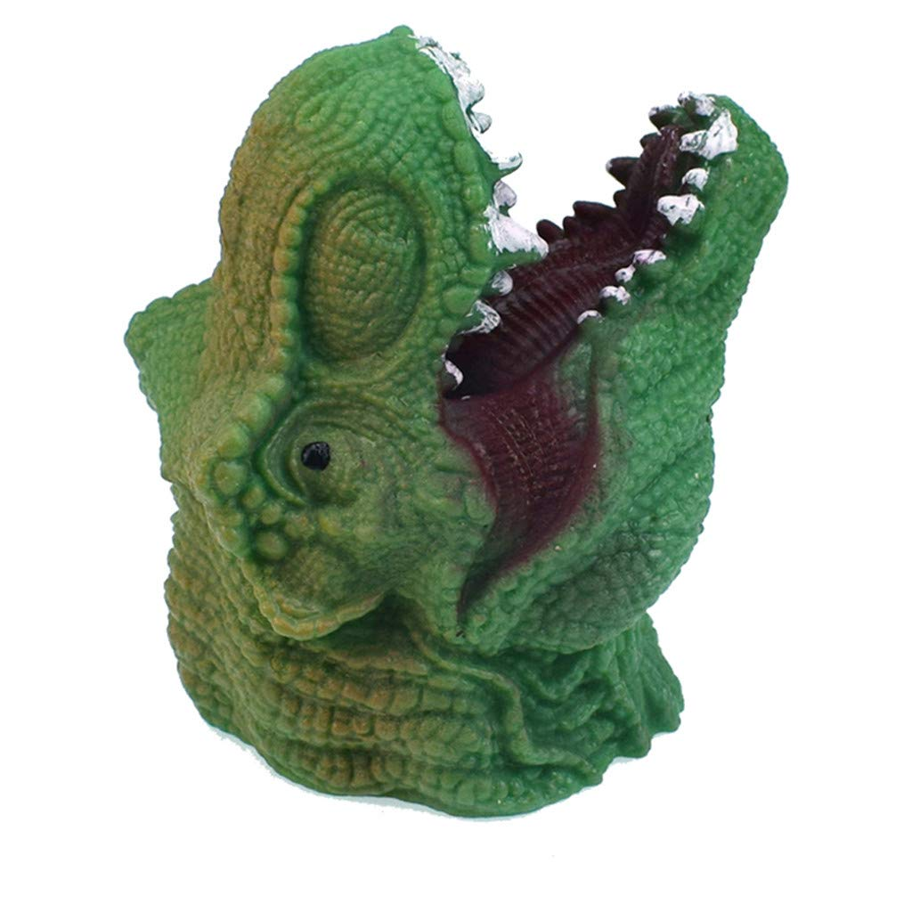 T-Rex Green Hand Puppets Role Play Realistic Head Dinosaur Finger Glove Toys