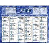 Calendrier 2020 Semestriel.Calendrier Semestriel Mural Annee 2020 Bleu 13 5 X 17 5