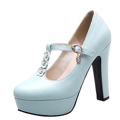 YE Damen T Spangen Pumps Blockabsatz Plateau High Heels Geschlossen mit Riemchen und Blumen Elegant Schuhe