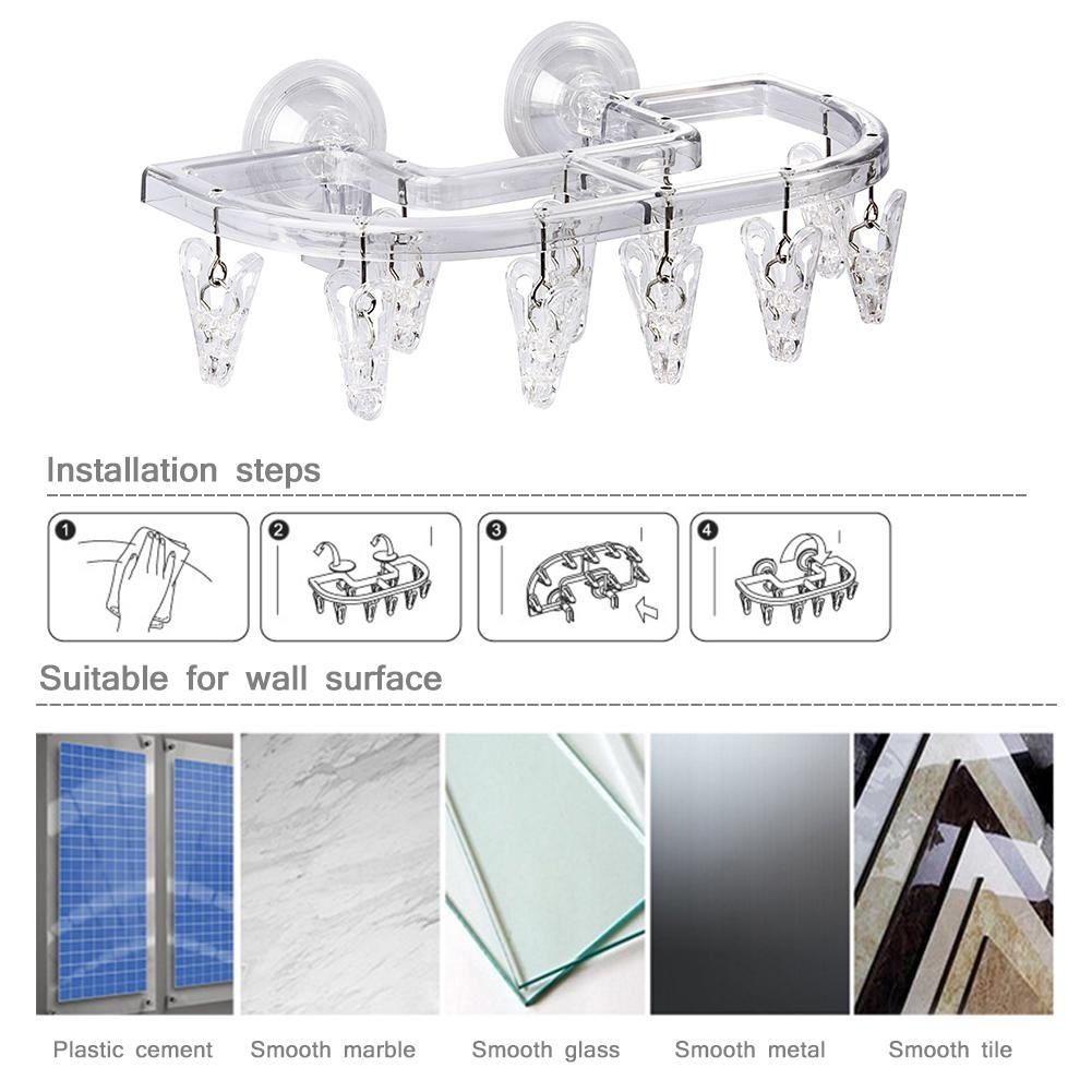 Blueyouth Drying Rack Punch-Free Suction Cup Drying Storage Rack Laundry Hanger Multi-Functional Heavy Duty Drying Rack Wall Mounted Clothes Hanger Rack