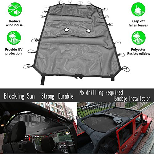 Jeep Wrangler Sunshade Mesh UV Protection Bikini Top Cover Net Best Strong Sturdy Black for JK JKU Sahara Sport Rubicon X & Unlimited 4-Door Accessory (2007-2018) 10 Year Warranty