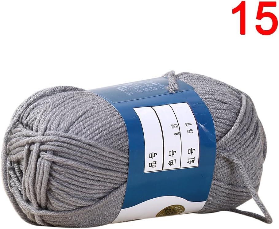 tuantuan 1 montón multicolor algodón de leche hilo de algodón – Ovillo de lana hecha a mano Crochet Tejer lana cálido y suave hilo para suéteres sombreros bufandas DIY, leche blanco: Amazon.es: