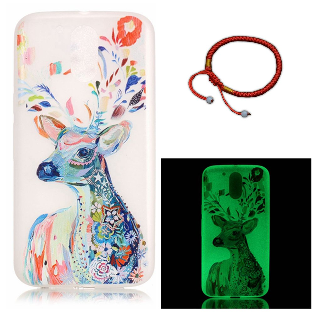 GOCDLJ Cover for Motorola Moto G4 / G4 Plus Flexible Silicone Gel Rubber Clear Slim Transparent, Motorola Moto G4 Night Luminous Glitter Soft TPU Case, Smart Phone Ultra Thin Lightweight Holder Anti-Theif Full Body Crystal Clear Fashionable Protective Shel