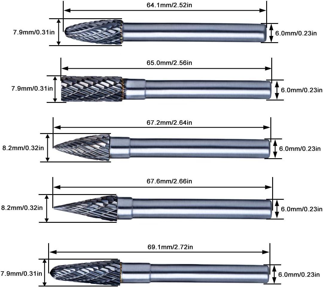 Per/çage Polissage 10Pcs 6mm Fraises Rotatives en Carbure de Tungst/ène Double Rotary Burr Set pour Dremel Meulage Gravure Batop Fraise Rotative Gravure