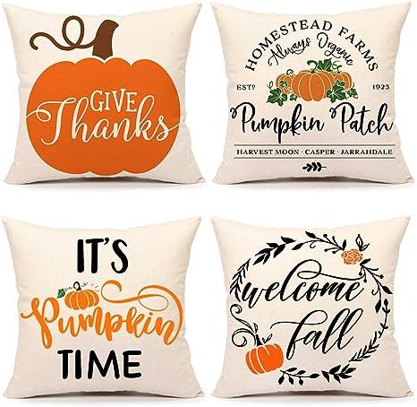 Thanksgiving Decor Trick or Treat Canvas Pillow Cover Fall Decoration Fall Winter Pillow Case Pumpkins Halloween Throw Pillow