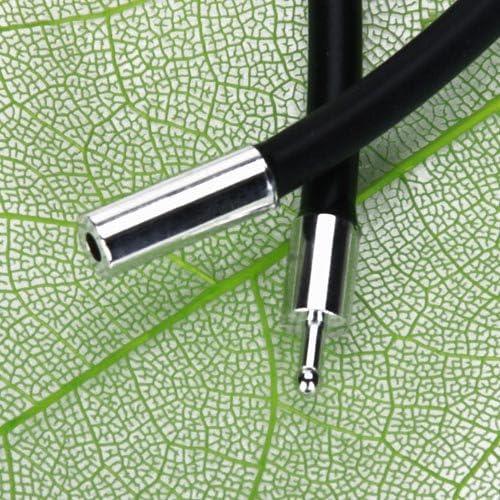 Hellery 3mm Collier Homme en Caoutchouc Noir avec Fermeture en Acier Inoxydable 40.5cm