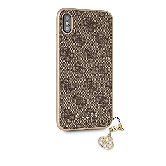 sale retailer 70313 d58ee Amazon.com: Guess iPhone Xs Max PU Leather Brown Cell Phone Case ...